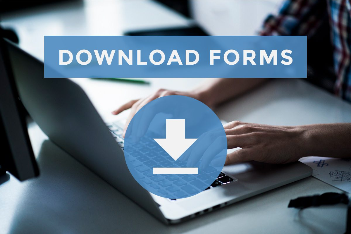 man on computer with download forms text overlaid on image to represent patient form download