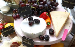 plate of cheese and fruit